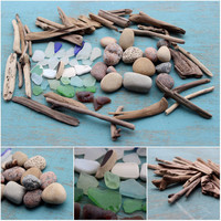 Instant Beach Comber Collection of Driftwood ,Sea Glass and Lake Stones , Nautical Home Decor BC74