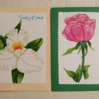 Set of 2 Floral Hand Painted Greeting Card, 5