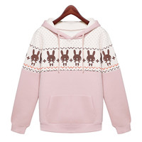 Pink Rabbit Print Long Sleeve Hooded Sweater