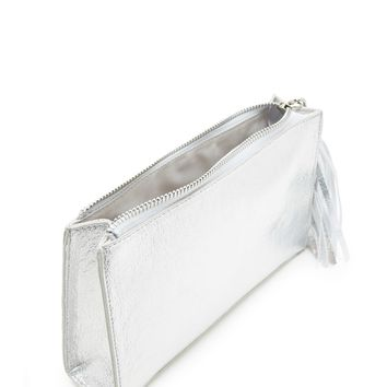 Iridescent Faux Leather Clutch