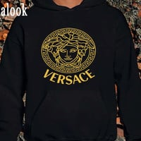 Versace Gold Logo Black Women and Men Hoodie Or Sweatshirt
