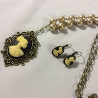 Black And Cream Vintage Cameo Pearl Necklace/Free Shipping