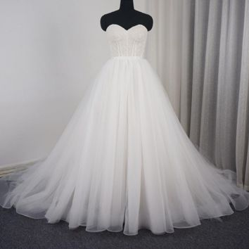 Sweetheart Ball Gown Wedding Dress Tulle Layer Lace Corset Beaded Champagne Lining New Design