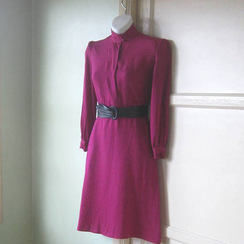 Gorgeous Vintage Silk Fuchsia Dress; Small-Medium - 40s-Inspired 1970s Career Dress in Dark Hot Pink; Shoulder Pads