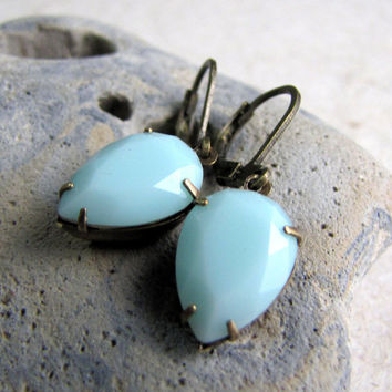 Swarovski Earrings Dangles - Antiqued Brass and Mint Alabaster