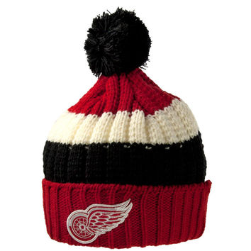 Detroit Red Wings - Logo Slope Adult Pom Pom Knit Hat
