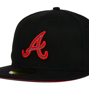 Atlanta Braves MLB Black on Reflective 59FIFTY Cap
