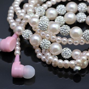 Crystal Balls Pearl Necklace Stereo Earphones
