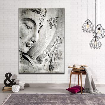 Home Decor Canvas Paintings Wall Art 1 Piece White Religion Buddha Pictures HD Prints Meditation Abstract Poster For Living Room