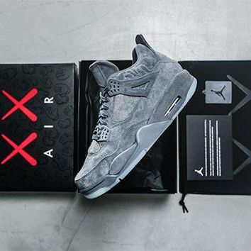 ONETOW Ready Stock' aj4 KAWS x Air Jordan 4 ¡°Cool Grey¡± Men Women Sneaker 930155-003