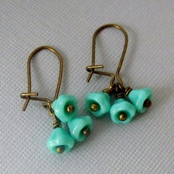 Turquoise Earring, Flower Cluster Dangling Earrings, Cute, Simple Earrings