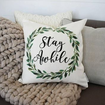Farmerhouse Pillow Cover, rustic Pillow Cover, Spring pillow cover, boxwood wreath, green leaf wreath,18x18, stay awhile