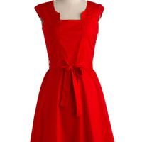ModCloth Vintage Inspired Mid-length Cap Sleeves A-line Ignite the Night Dress