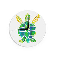 "Catherine Holcombe ""Turtle Love"" Green Teal Wall Clock"