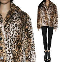 Leopard Faux Fur Jacket Spotted Plush 90s Club Kid Raver Clothing Womens Coat Size Medium