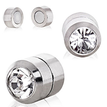 Clear CZ Magnetic Fake Plugs