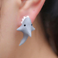 1X Women's Cute Polymer Clay Shark Animal Stud Earrings Ear Stud