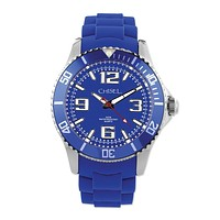 Mens Chisel 44mm Blue Silicone Strap Watch