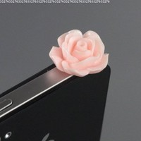 ZuGadgets 3.5mm Plug Pink Rose Flower Earphone Jack Accessory Plug / Ear Cap / Anti-dust Plug /Dust Stopper for iPhone,S3,HTC,Mobile Phones with 3.5mm Jack (7756-28)