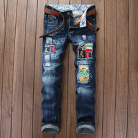 Ripped Holes Stylish Pants Men Jeans Slim Rinsed Denim Jeans [7417640771]
