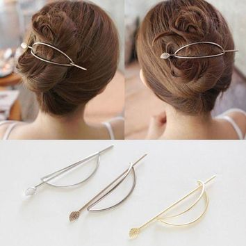 VONG2W 2017 New Fashion Gold and Silver Plated Hair Clasp Jewelry Leaf Hair Sticks HairPins and Clips for Women Jewellery Accessories