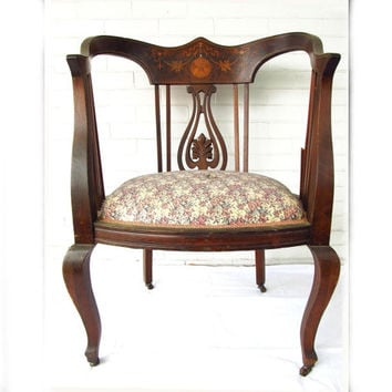 1800s Neoclassical Tub Chair REGAL Sheraton Revival, Carved Walnut Inlay Top Rail, 19th Century Louis XVI LARGE Size
