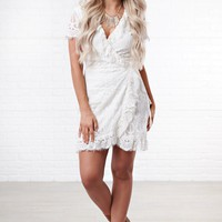 Infatuated Lace Wrap Dress (Off White)
