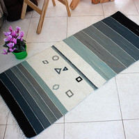 Gray striped wool rug with geometric motifs, handwoven boho rug in gray, unique kilim rug
