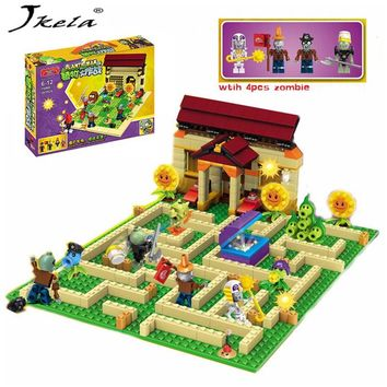 [Hot] New 2 style plants vs zombies Set Anime Garden Game Building Blocks Bricks Compatible With Legoingly plants vs zombies