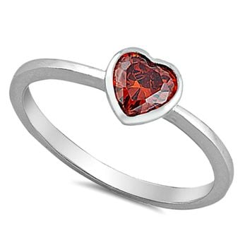.925 Sterling Silver Red Garnet Heart Kids and Ladies ring Size 2-10