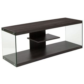 LMFON Cedar Lane Collection Wood Grain Finish TV Stand with Shelves and Glass Frame