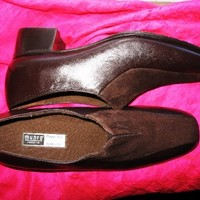 MUNRO SHOES BROWN LEATHER/SUEDE LOAFERS W ELASTICS SIZE 8 N/38,5  MADE IN USA !