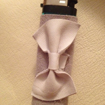 Gray Leather Wrapped Lighter with White Bow by SugarMagnoliaSouth