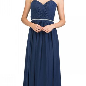 Starbox USA 6175 Strapless Floor Length Formal Dress Ruched Bodice Navy Blue