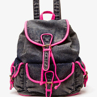 Neon Trim Denim Backpack