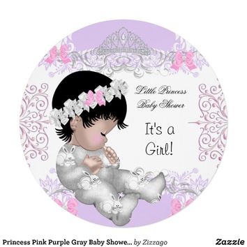 Princess Pink Purple Gray Baby Shower Cute Girl 4 Custom Invitations from Zazzle.com