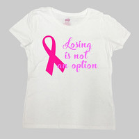 Breast Cancer Shirt Awareness T Shirt Pink Ribbon TShirt Breast Cancer Gifts Cancer Survivor Support TShirt Charty Ladies Tee - SA833