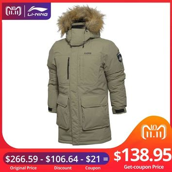 (11.11 Clearance)Li-Ning Men Outdoor Down Jackets Waterproof 90%White Goose Down Fur LiNing Sports Parkas Coats AYML025 MWY308