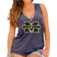 Michigan Wolverines Original Retro Brand Womens Relaxed Henley Tank Top – Navy Blue
