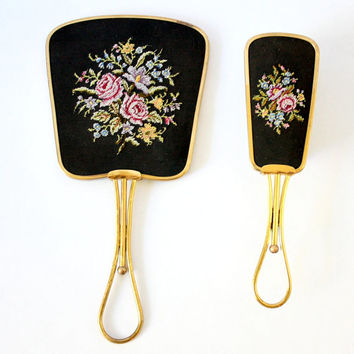 Vintage Vanity Set. Hand Mirror and Perlon Brush. Embroidered Roses Pattern on Gold Tone Hardware
