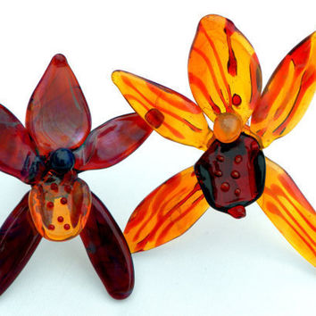 Glass Orchids Pair Yellow Red Purple by untamedrose on Etsy