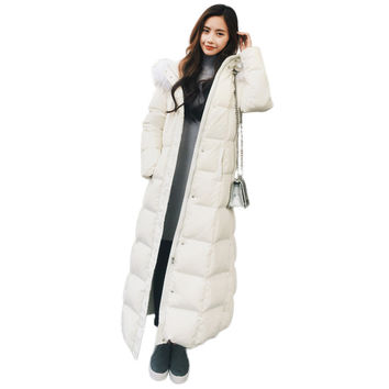 White Duck Down Coat Women Oversized Coats Hooded Fur Collar Winter Jacket Women White Black Down Parka Thicken Jackets C2806