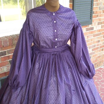 Rich Purple Semi Sheer Dotted Swiss Civil War Gown**24
