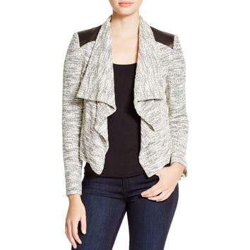 Alice + Olivia Womens Lamb Leather Long Sleeves Open-Front Blazer