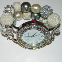 Pearls and More Beaded Watch, Beaded Bracelet Watch, Silver and White Beaded Watch, Gifts Under 40, Holiday Watch by BeadsnTime