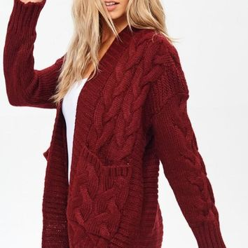 Cable Knit Oversized Cardigan Sweater