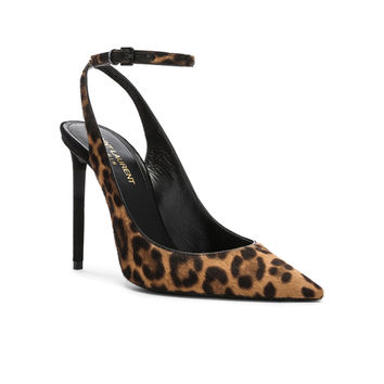 Saint Laurent Leopard Print Calf Hair Zoe Slingback Pumps in Natural & Black | FWRD