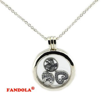 75CM Chain 925 Sterling-Silver-Jewelry Large Floating Locket Pendant Necklace Compatible with Europe Free Shipping