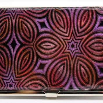 Business card case, Polymer clay covered card holder, DELUXE metal wallet, black clay with mica powder, OOAK handmade