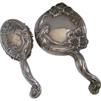 One Kings Lane - Beyond the Looking Glass - Art Nouveau Mirror & Brush